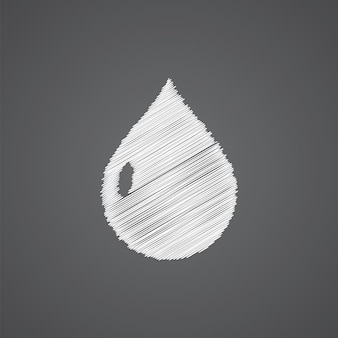 Drop sketch logo doodle icon isolated on dark background