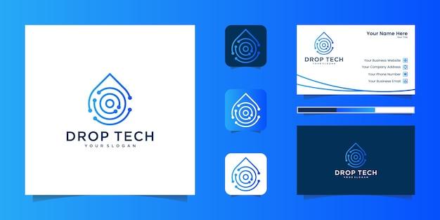 라인 아트 스타일 및 명함 디자인, 고급, 추상, 그라데이션, 아이콘 및 명함이있는 드롭 기술 로고