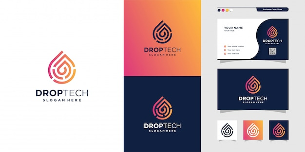 Drop tech logo with line art style and business card design, luxury, abstract, gradient, icon, premium