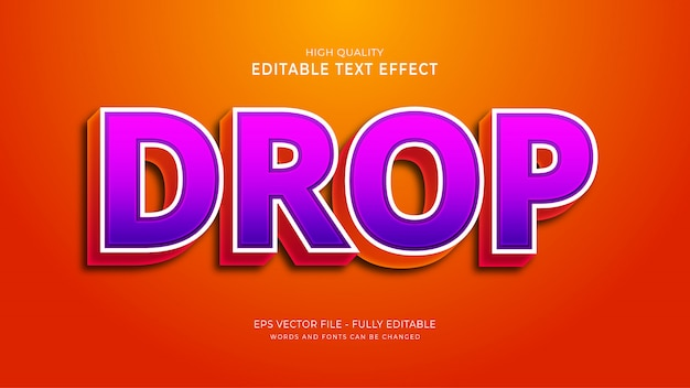 Drop text effect, editable game text style effect