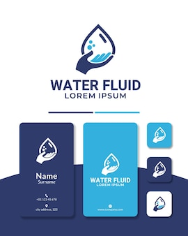 Капля воды дизайн логотипа руки вверх слив