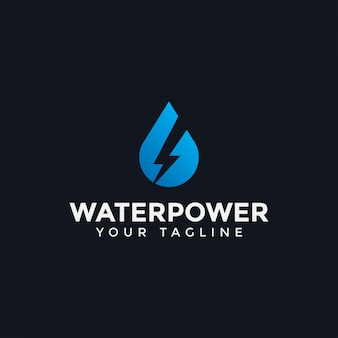 Drop water and power energy lightning bolt logo template