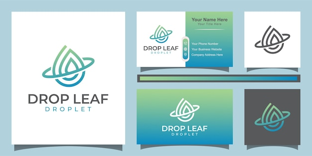 Drop and water vector logo. elegant leaf and oil logo design with line art style logo and business card