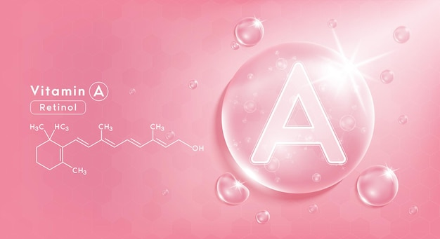 Drop water vitamin a pink and structure vitamin complex with chemical formula from nature