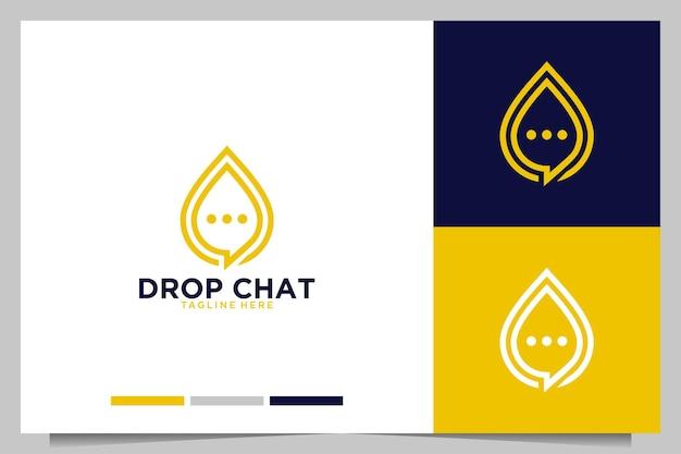 チャットバブルのモダンなロゴデザインでドロップ