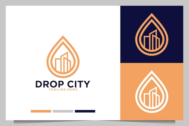 Drop with city building logo design