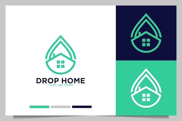 家のモダンなロゴデザインでドロップ