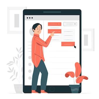 Illustrazione del concetto di menu a discesa