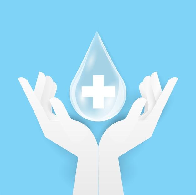Капли спирта или супа две верхние человеческие руки помой. личная гигиена, здравоохранение, защита от болезней