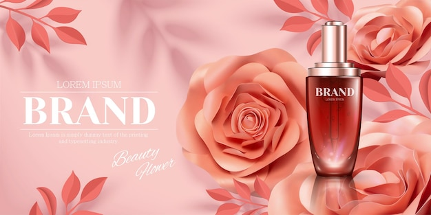 Droplet bottle ads with romantic paper rose decorations in 3d illustration