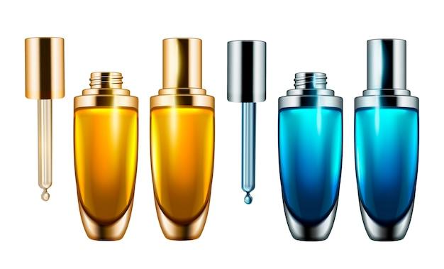 液滴ボトル、イラストの白い背景の空の化粧品容器テンプレート