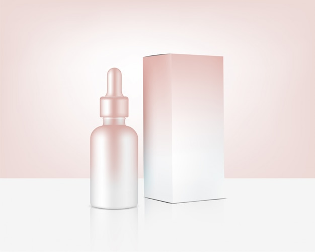 Dropper bottle mock up realistic rose gold cosmetic and box for skincare product