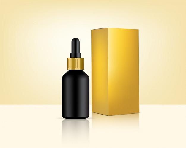 Бутылка капельницы реалистичная золотая косметика и коробка для ухода за кожей иллюстрация продукта. здравоохранение и медицина.