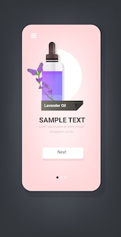 Dropping essential lavender oil glass bottle with violet flower and liquid natural face body beauty remedies concept smartphone screen mobile app vertical