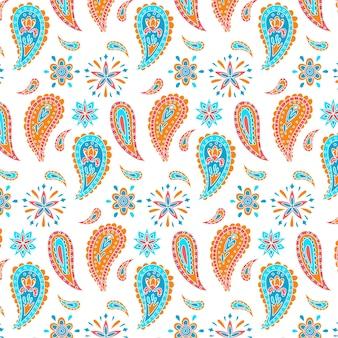 滴と花ペイズリーのシームレスパターン