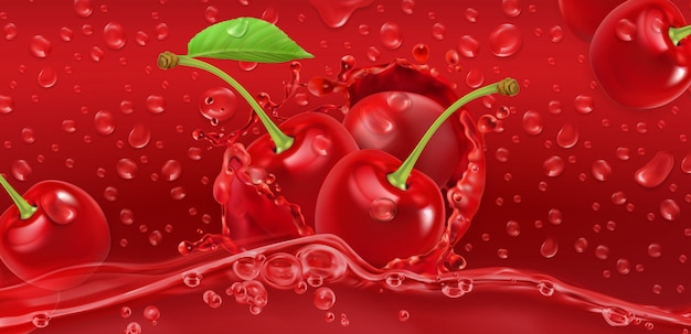 Drops. cherry juicy. 3d realistic