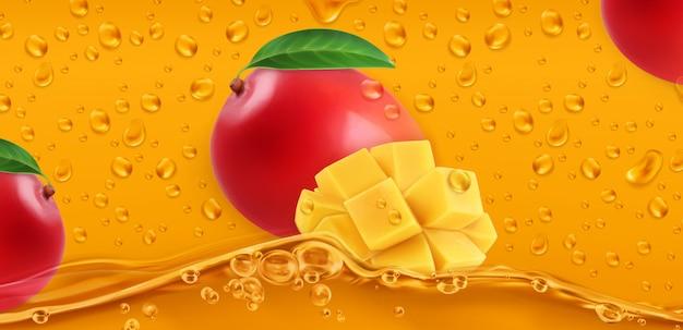 Капли. сок манго. 3d реалистичный