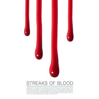 Капли крови стекают. векторные иллюстрации