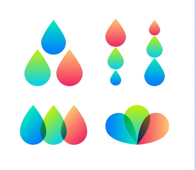 벡터 아이콘 세트를 삭제합니다. 잉크젯 프린터 로고 템플릿입니다. 디자인 하우스, 사진 회사 로고를 표현합니다. 타이포그래피 추상적인 기호입니다. 흰색 배경에 고립 된 벡터 일러스트 레이 션