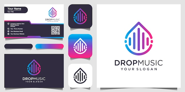 Drops or water combined with pulse or wave element. logo design and business card