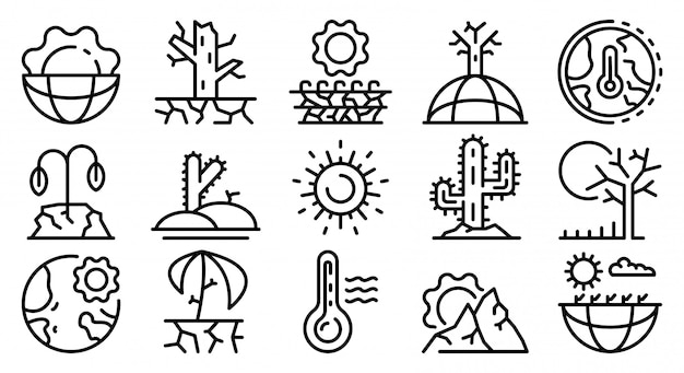 Drought icons set, outline style