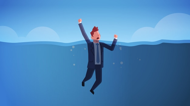 Drowning businessman raising his hands out of water insolvency failure crisis bankruptcy concept sinking business man in sea needs urgent help horizontal full length