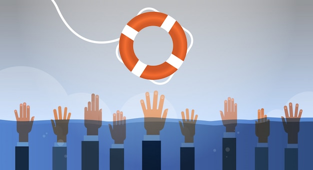 Drowning businessmen hands in water getting one lifebuoy helping business to survive support rescue concept horizontal