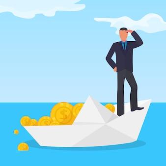 Тонуть коррумпированный мужчина характера на шлюпке белой бумаги, украденной иллюстрации вектора монетки золотого доллара плоской. схема финансового мошенничества.