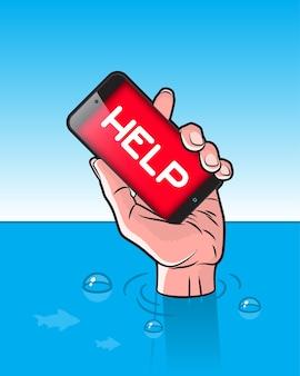Тонущий человек со смартфоном в руке с сигналом помощи на экране