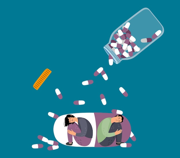 Drug addiction. depressed people in pill, tablets falling from bottle. medical therapy vector concept