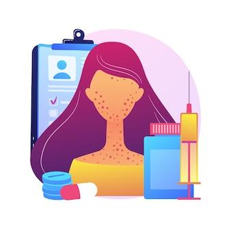 Illustrazione di concetto astratto di allergia ai farmaci. trigger di allergie ai farmaci, fattori di rischio, effetto collaterale della medicina, test di intolleranza al rimedio, metafora astratta del trattamento dei sintomi della malattia allergica.