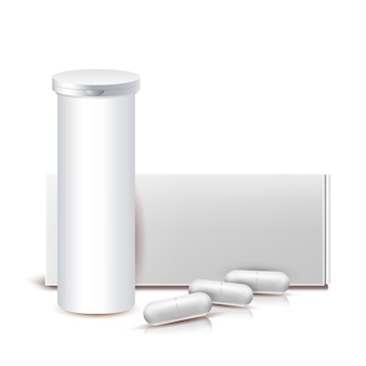 Drug capsules blank container and package vector