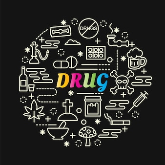 Drug colorful grdient with line icons set