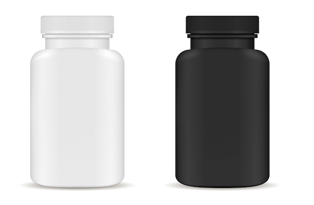 Drug medical bottles set. black white 3d vector