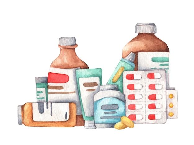 Сбор лекарств и пищевых добавок. акварельная иллюстрация.
