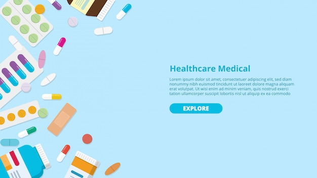 Drug or medicine pills template banner