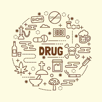 Drug minimal thin line icons set