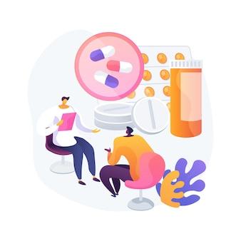 Illustrazione di vettore di concetto astratto di monitoraggio della droga. monitoraggio terapeutico dei farmaci, assistenza sanitaria primaria, braccialetto alla caviglia, chimica clinica, misurazione del livello di farmaco nella metafora astratta del sangue.