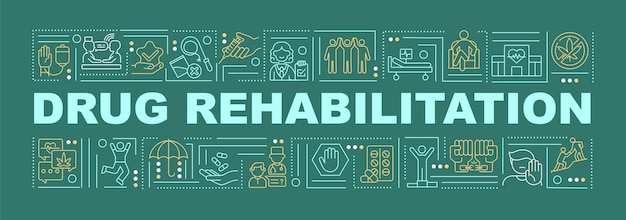Drug rehabilitation word concepts banner