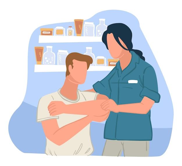 전문의의 약국 상담. 부상에 대한 의료 종사자, 진료소 또는 병원의 전문적인 도움. 상처가 있는 아픈 사람을 위한 권장 사항을 제공합니다. 건강 관리, 평면 스타일의 벡터