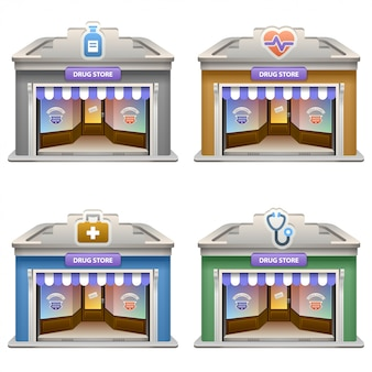 Drug store facade set