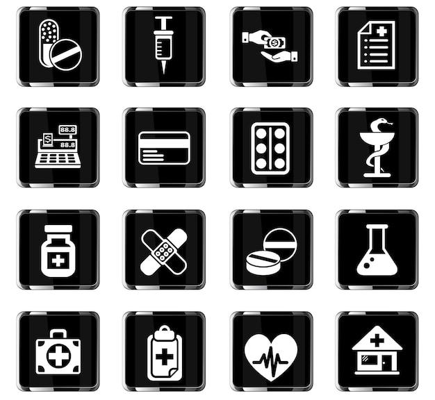 Веб-иконки аптек для дизайна пользовательского интерфейса