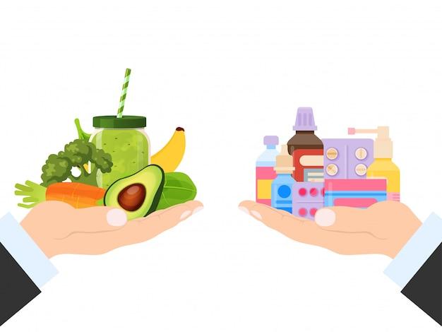 약물 정제 및 건강 야채 영양 선택, 일러스트. 치료 알약 및 자연적인 신선한 녹색 제품에있는 비타민.