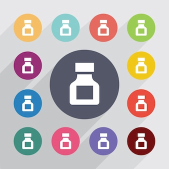 Drugs circle, flat icons set. round colourful buttons. vector