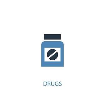 마약 개념 2 색된 아이콘입니다. 간단한 파란색 요소 그림입니다. 마약 개념 기호 디자인입니다. 웹 및 모바일 ui/ux에 사용 가능
