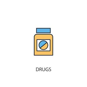 ドラッグコンセプト2色の線のアイコン。シンプルな黄色と青の要素のイラスト。薬の概念概要シンボルデザイン