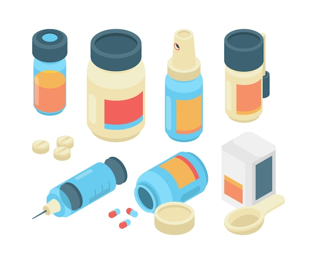 Drugs pills isometric. pharmaceutical healthcare 3d items emergency doctor tools for clinic medication use collection. illustration medical pill, isometric drug and health pharmaceutical