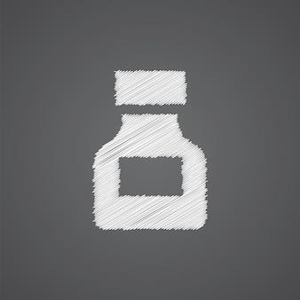 마약 스케치 로고 낙서 아이콘 어두운 배경에 고립