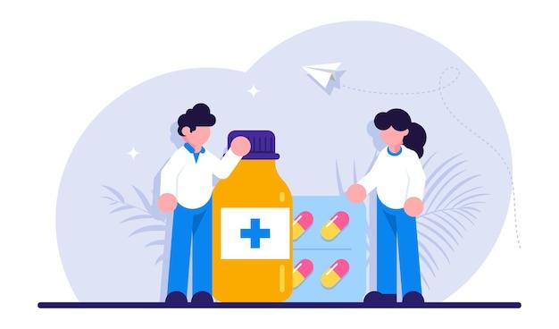 ドラッグストアと薬剤師のコンセプト。ボトルとボックスでの薬局の薬のコレクション。