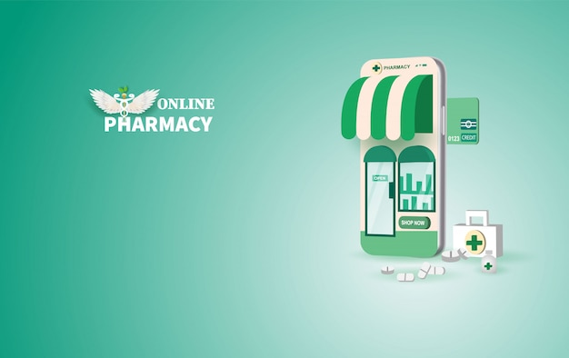Drugstore online.pills buy online with the smartphone concept.